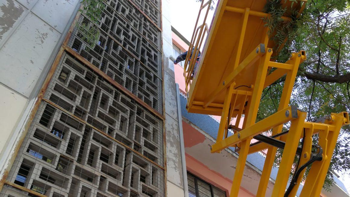 Recuperación de Fachada en emblemático edificio afectado por Rayados Vandálicos.