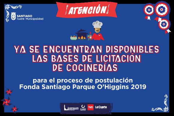 Ya se encuentran disponibles las bases de Licitación para Cocinerías Fonda Santiago 2019
